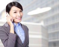 Woman happy talking mobile phone Stock Photos