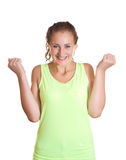 Woman happy tasted success. Isolated on white background Stock Photos