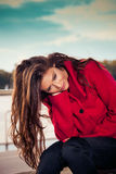 Woman with happy thoughts Royalty Free Stock Images