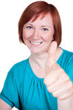 Woman is happy and thumb up Stock Images