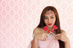 Woman happy vanlentine two heart candy1 Royalty Free Stock Photography