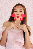 Woman happy vanlentine two heart candy2 Royalty Free Stock Image