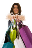 Woman happyness after shopping. Happy beautiful woman with her shopping bags (isolated on white Royalty Free Stock Photography