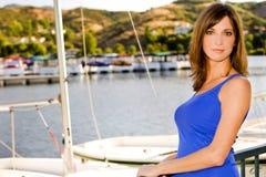 Woman at a harbor Royalty Free Stock Photo