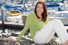 Woman harbor stock photography
