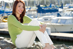 Woman harbor royalty free stock photo