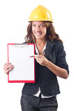Woman with hard hat Royalty Free Stock Image