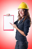 Woman with hard hat Royalty Free Stock Photography