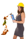 Woman hard hat torch Royalty Free Stock Images