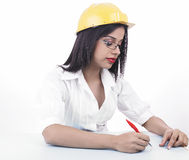 Woman with a hard helmet Stock Photo