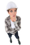 Woman in a hardhat Royalty Free Stock Photo