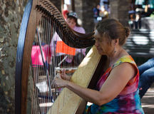 Woman Harpist. Woman plays a single action pedal harp in public open plaza at a farmer's market in Reston, Virginia Stock Image