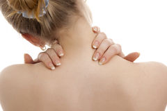Woman has a back pain. Stock Photography