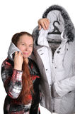 The woman has bought a jacket. Royalty Free Stock Images