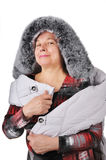 The woman has bought a jacket. Royalty Free Stock Photo