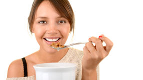 Woman Has Breakfast Stock Photo