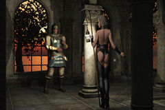 Woman has clandestine meeting with assassin. Fantasy rendered images of woman in skimpy black leather tunic and leggings carrying oil lamp on pole to illuminate Stock Image