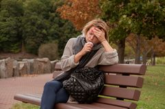 Woman has cold or flu.  Cough Royalty Free Stock Photography