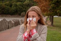 Woman has cold or flu. Girl has catch cold Stock Photography