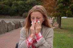 Woman has cold or flu. Girl has catch cold Royalty Free Stock Images