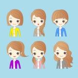 Woman has different hair style. Cute cartoon woman has different hair style Stock Photography