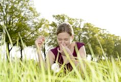 Woman has hay fever. Young woman has hay fever Stock Photography