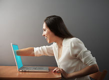 Woman has an internet addiction Stock Photos