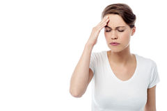 Woman has a migraine Stock Image