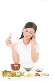 Woman has no appetite Stock Photos
