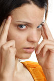 woman has a painfull headache Royalty Free Stock Images