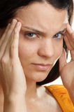 woman has a painfull headache Royalty Free Stock Image