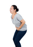 Woman has stomach ache. royalty free stock image