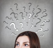 Woman has too many questions Stock Image