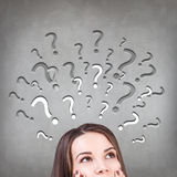 Woman has too many questions Royalty Free Stock Photography
