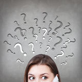 Woman has too many questions Stock Photo