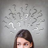 Woman has too many questions Royalty Free Stock Images