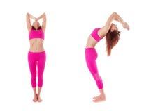 Woman Hasta Uttanasana, Raised Arms Yoga Pose. Front, side view. Stock Photos