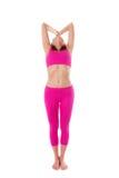 Woman Hasta Uttanasana, Raised Arms Yoga Pose. Front view. Royalty Free Stock Images