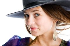 Woman in a hat Royalty Free Stock Image