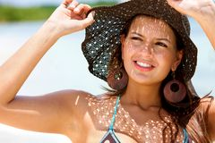 Woman with a hat Royalty Free Stock Photos