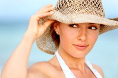 Woman with a hat Royalty Free Stock Photography