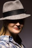 Woman in hat. Woman in old wool hat Royalty Free Stock Images