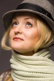 Woman in hat. Woman in old wool hat Royalty Free Stock Image