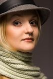 Woman in hat. Woman in old wool hat Royalty Free Stock Photos