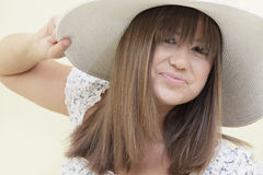 Woman with a hat Stock Photos