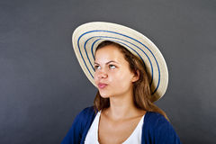 Woman With Hat Stock Images
