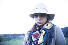 Woman in Hat. Woman wearing a hat and a colorful scarf Stock Photos