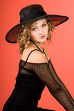 Woman is in a hat stock images