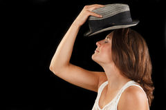 Woman with hat Royalty Free Stock Images