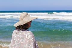 Woman Hat Beach Ocean Stock Photos